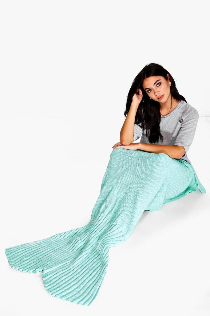 Mixed Mint Green Knitted Mermaid Tail Blanket ($30)