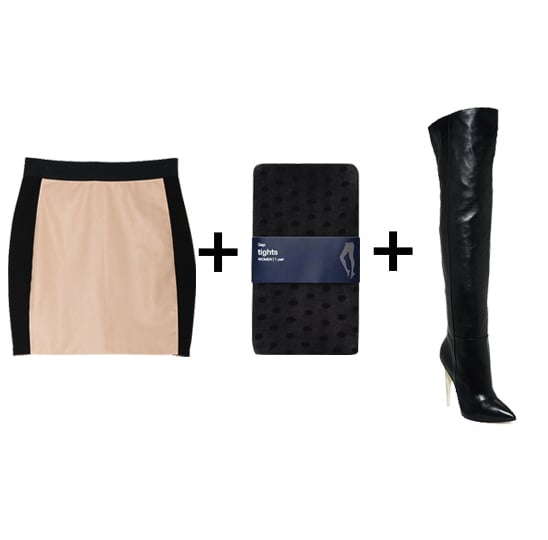 What's sexier than a miniskirt with an over-the-knee boot? Just add some dotted tights for a playful twist.  Get the look:  Mason leather inset skirt ($395) Gap dot tights ($12, originally $15) L.A.M.B. over-the-knee boots ($556, originally $695)