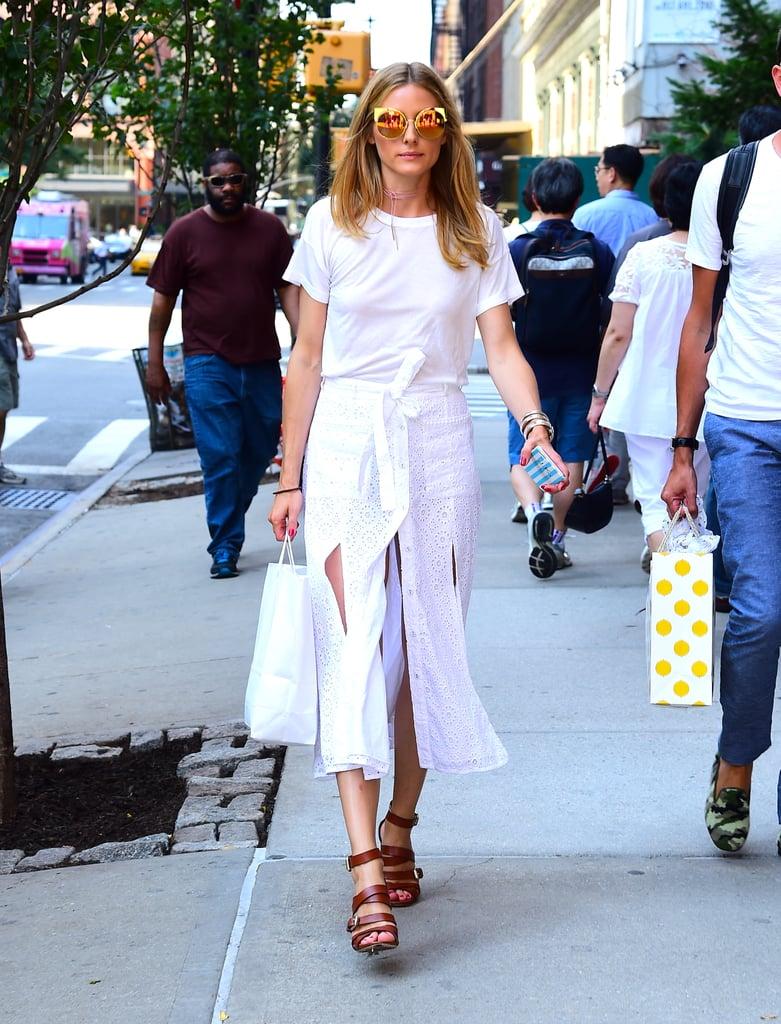 Olivia Palermo White Slit Skirt July 2016