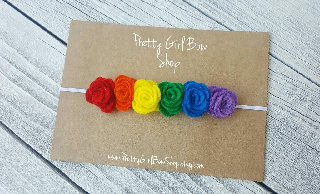 Rainbow Baby Felt Flower Headband