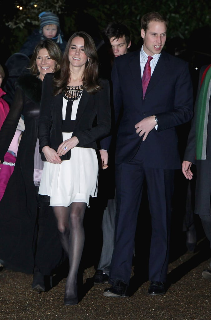 Prince William led the way for his fiancee Kate Middleton at a Teenager Cancer Trust Christmas fundraiser in Fakenham, England, yesterday evening. Kate wore a beautiful white Temperley London dress for the occasion. The philanthropic night marks the first public event the two have attended together since he popped the question in November. William and Kate released their official engagement photos last week, and he revealed that he'd like to make their April 29 nuptials a relatively intimate affair. William and Kate's big news was one of the biggest stories of the year, and their actual ceremony will certainly be a huge headline in 2011.