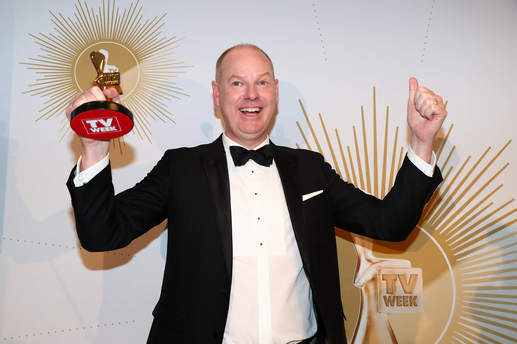 GOLD COAST, AUSTRALIA - JUNE 30: Tom Gleeson poses with the Gold Logie Award for Most Popular Personality during the 61st Annual TV WEEK Logie Awards at The Star Gold Coast on June 30, 2019 on the Gold Coast, Australia. (Photo by Chris Hyde/Getty Images)