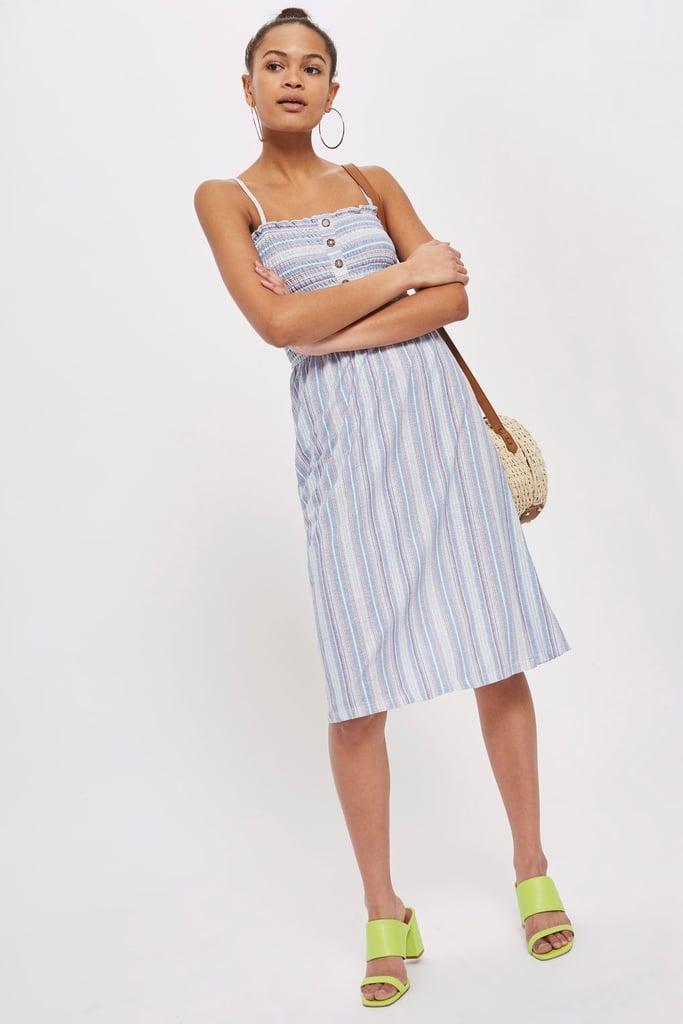 716a71019d23 Topshop Stripe Shirred Midi Dress