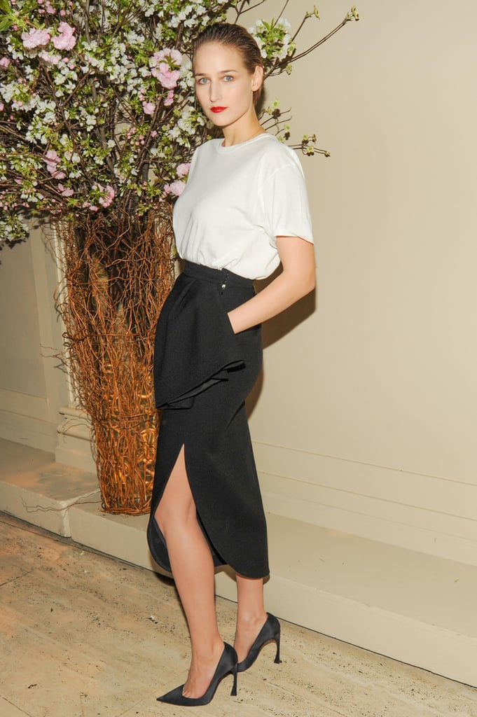 Leelee Sobieski looked svelte in a white-and-black cocktail-inspired look, topped off by pointy black pumps, at the New Museum's annual Spring gala. Source: Neil Rasmus/BFAnyc.com
