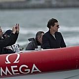 Tom Cruise went for a ride around the San Francisco Bay after the Emirates Team New Zealand won the final race. Source: Chris Cameron/Emirates Team New Zealand