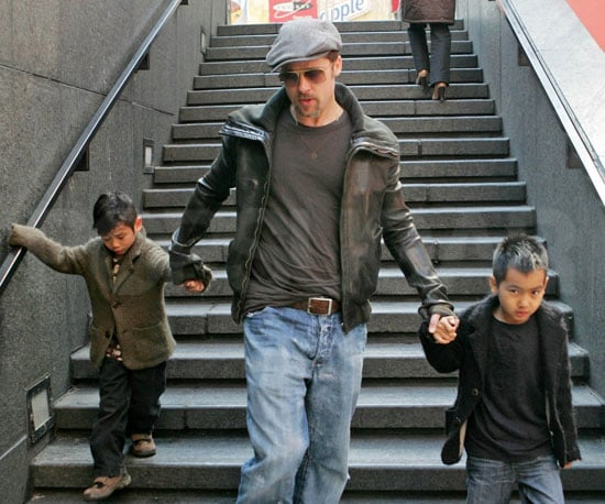 Photo of Brad Pitt with Sons Pax and Maddox in NYC