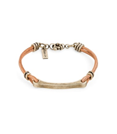 If you prefer more earthy shades, choose this Gold Leather Bit Cuff ($30).