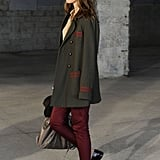 A borrowed-from-the-boys play on the classics, thanks to a military coat and brogues.