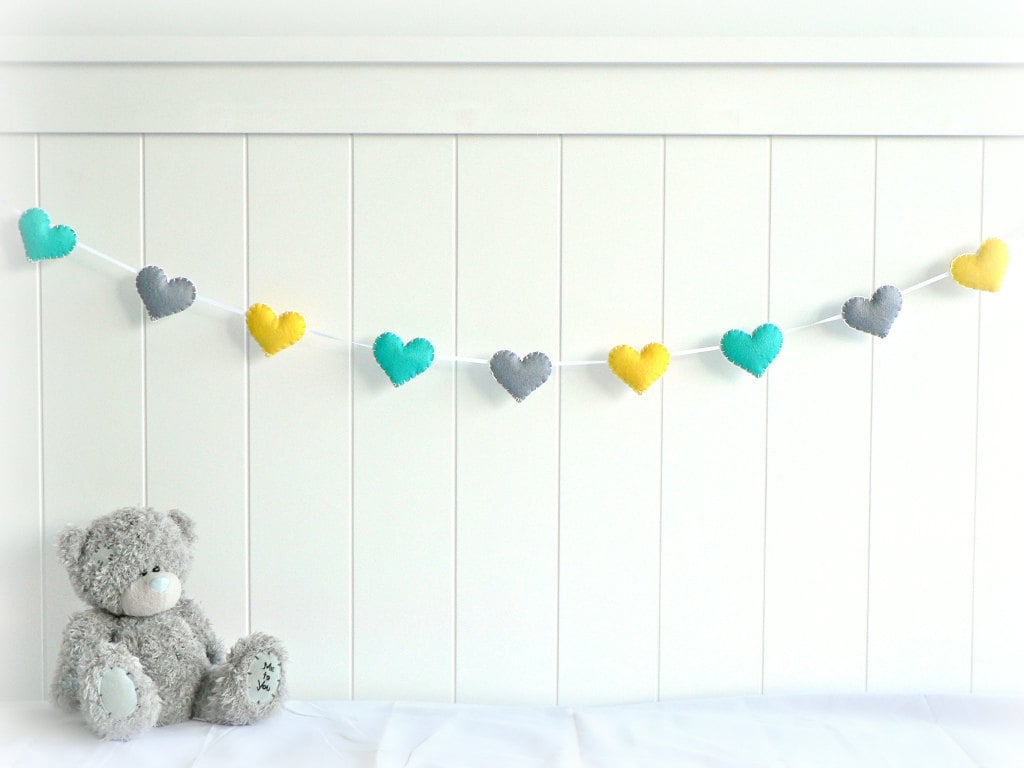 This heart garland ($24) will look cute draped across a crib.