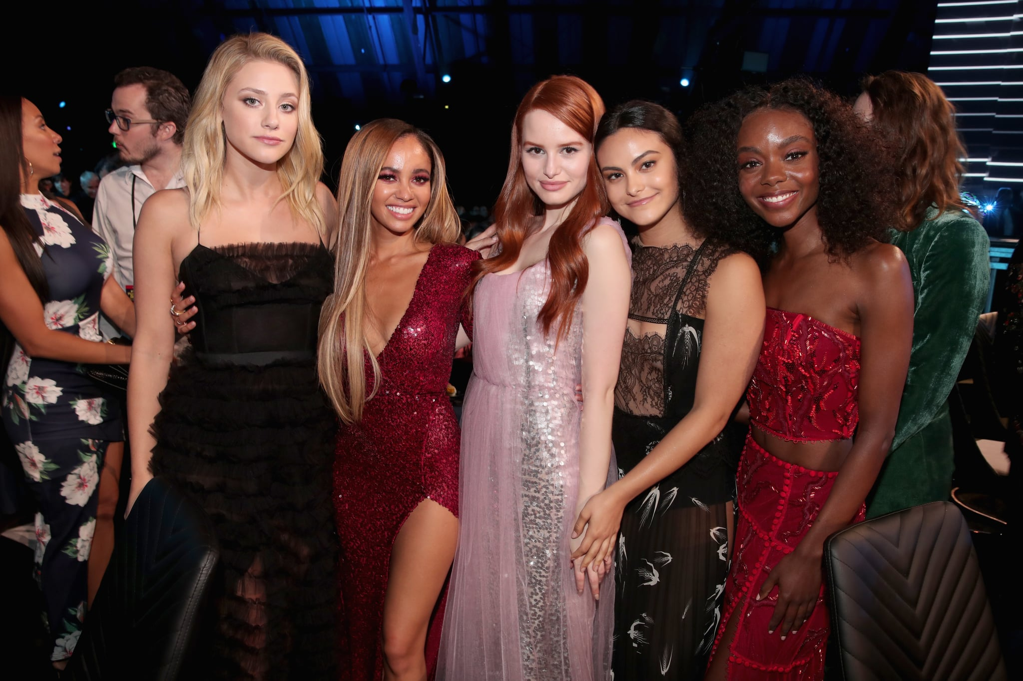 SANTA MONICA, CA - JUNE 16: (L-R) Actors Lili Reinhart,  Vanessa Morgan, Madelaine Petsch, Camila Mendes, and Ashleigh Murray pose during the 2018 MTV Movie And TV Awards at Barker Hangar on June 16, 2018 in Santa Monica, California.  (Photo by Chris Polk/VMN18/Getty Images for MTV)