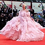 Twirling around in a pink Valentino dress at the 2018 Venice Film Festival.