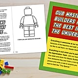 Coloring sheets were made so every child could write something nice for their teachers and color them a Lego picture.