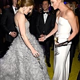 Charlize Theron and Amy Adams chatted at the Governors Ball.