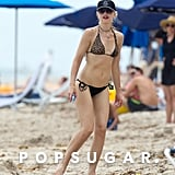 Gwen Stefani wore her signature red lips on a beach in Miami.