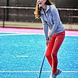 The first time Kate was seen in public in her color-pop Zara denim was playing hockey with the Olympic team two months later.