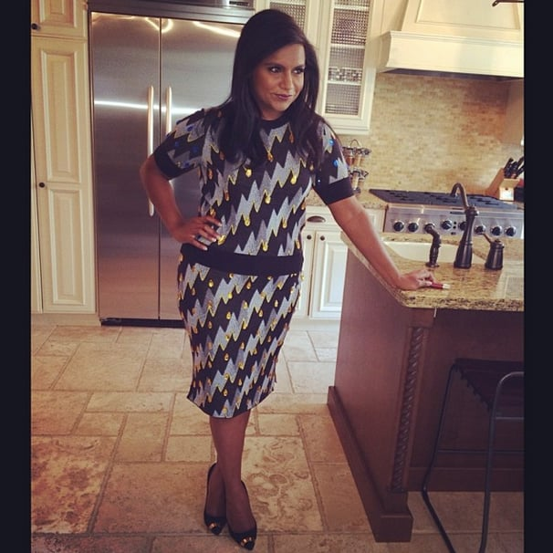 Like Mindy Kaling's dress? She's happy to let you know it's Kenzo. (As for the shoes, they're Giuseppe Zanotti). Source: Instagram user mindykaling