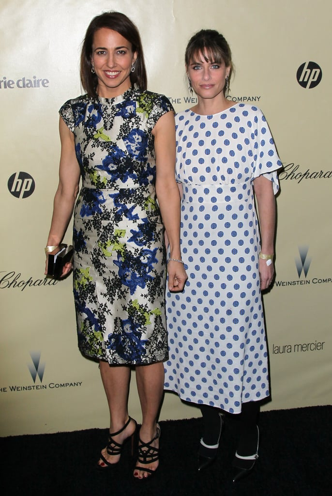 Amanda Peet showed up to the Weinstein party in a pretty polka dot look.