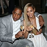 Beyoncé and Jay-Z celebrated with champagne at the 40/40 Club's 10th anniversary party in NYC.