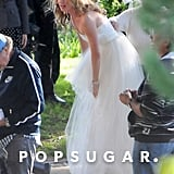 Emily VanCamp wore a wedding gown to film Revenge.