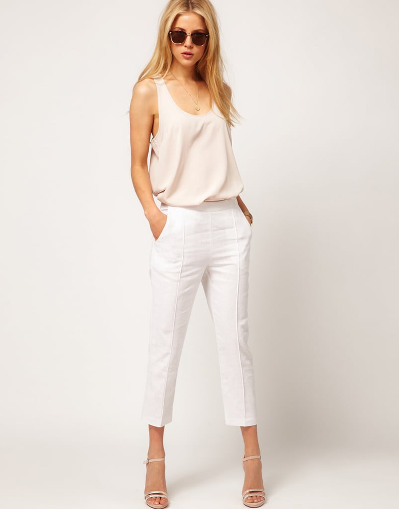 How great are these skinny pants? We'd wear them with sky-high wedges and a breezy blouse.  ASOS Linen Pintuck Crop Pant ($35)
