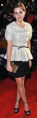 Emma Watson in Jason Wu Top, Skirt With Jimmy Choo Sandals