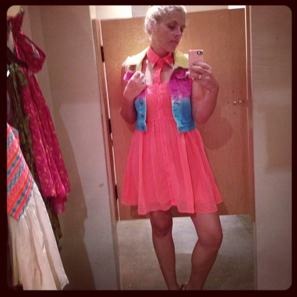 Busy Philipps tried on new wardrobe pieces for her Cougar Town character.  Source: Instagram user busyphilipps