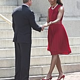 Wearing Michael Kors dress for a bill signing in Maryland in April 2013.