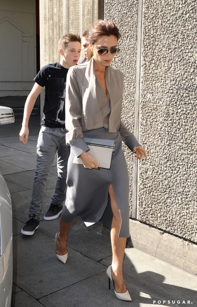 Victoria Beckham walked with Brooklyn Beckham to the Vogue festival.