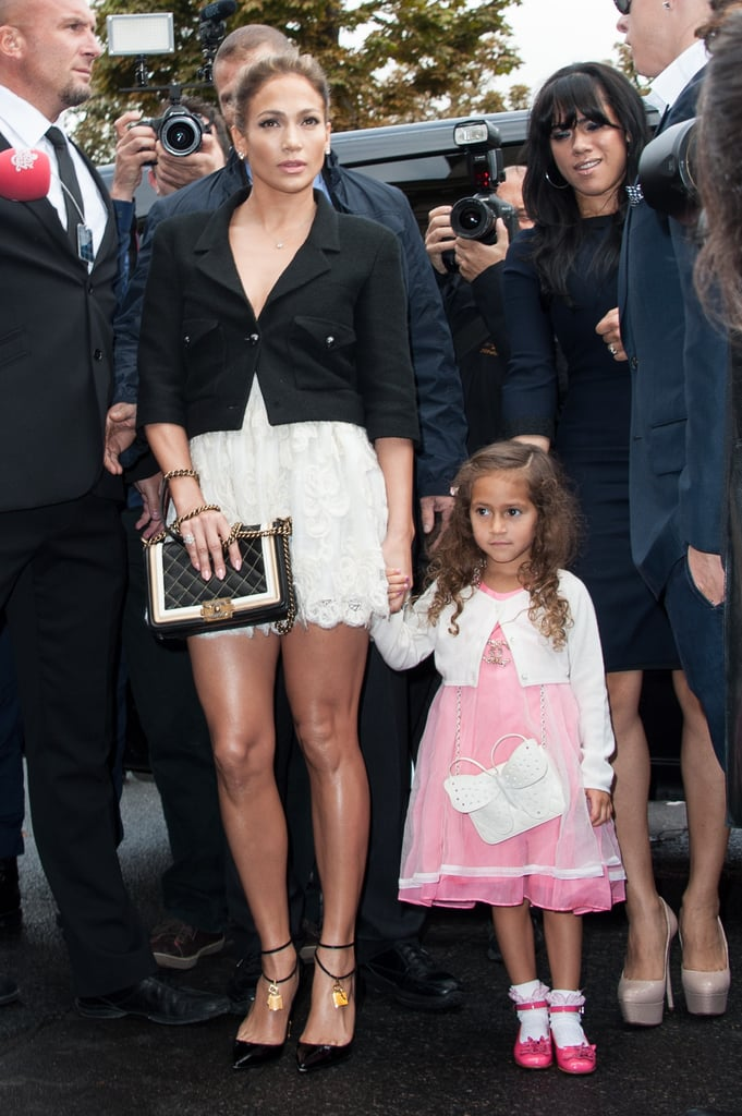 Jennifer Lopez arrived at the Chanel show in Paris with daughter Emme.