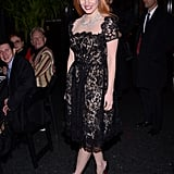 Jessica Chastain wore a black lace dress.