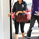 And she can rep that classic, New England-casual workout style.