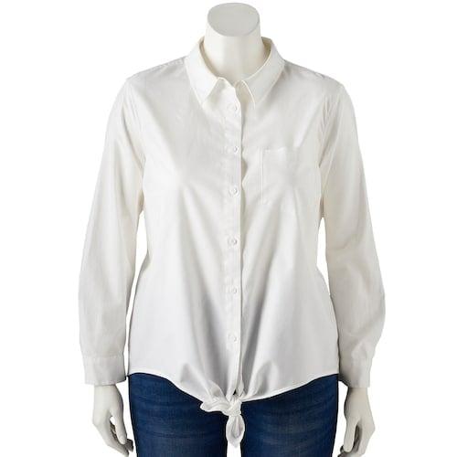 POPSUGAR Plus Size Tie-Front Button Up Shirt