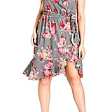 City Chic Rose Picnic Ruffle Wrap Dress