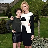 Charlize Theron wore a black and white dress with Kristen Stewart.