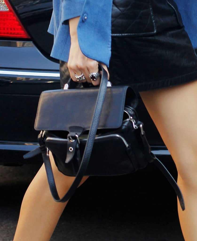 A boxy black satchel felt totally classic and cool in this mix. Source: Greg Kessler