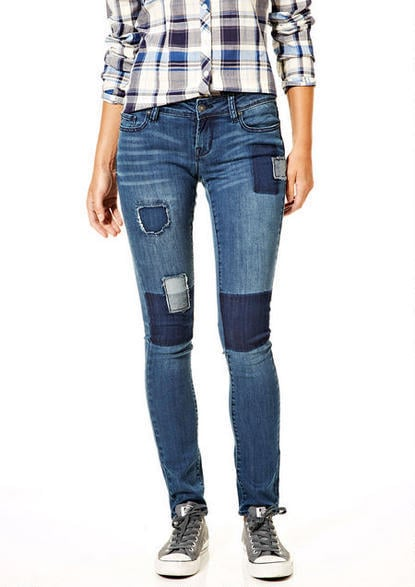 Delia's Taylor Low-Rise Skinny Jeans with Patches ($50)