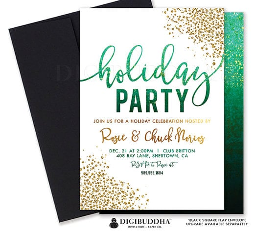 Green Ombre Holiday Party Invitation Printable Holiday Party