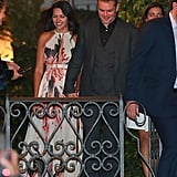Matt and Luciana Damon held hands while exiting the restaurant.