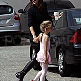Jennifer Garner wears all black.