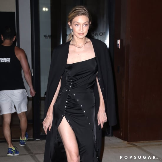 Gigi Hadid Wearing Black Paco Rabanne Dress
