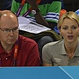 Charlene watched on with her husband during the men's 200m butterfly race.