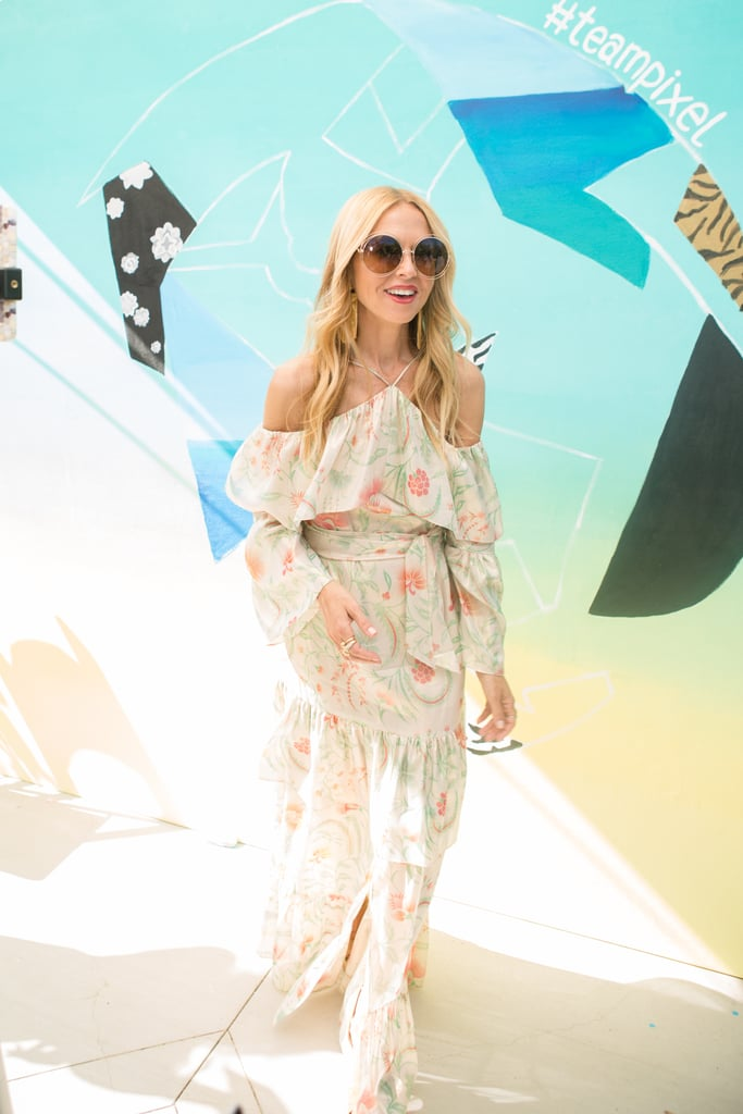 Rachel Zoe wearing a flowy printed maxi dress at The Zoe Report's Zoeasis party.