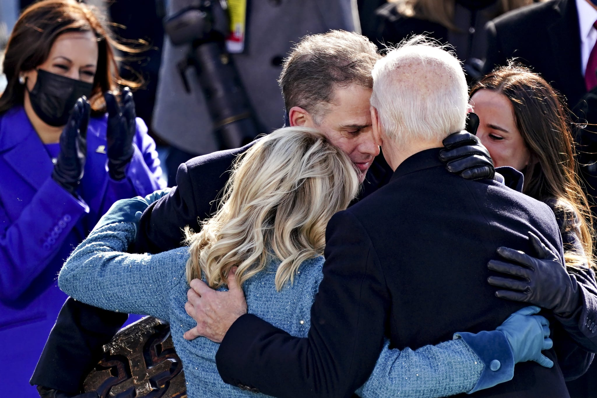 TOPSHOT - US President Joe Biden(R) is comforted by his son Hunter Biden and First Lady Jill Biden after being sworn in during the 59th presidential inauguration in Washington, DC on the West Front of the US Capitol on January 20, 2021 in Washington, DC. - During today's inauguration ceremony Joe Biden became the 46th president of the United States. (Photo by Kevin Dietsch / POOL / AFP) (Photo by KEVIN DIETSCH/POOL/AFP via Getty Images)