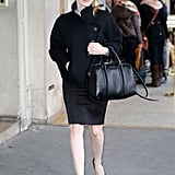 Jessica stuck to her all-black theme in a tweed jacket, pencil skirt, Givenchy bag, and platform pumps while strolling the streets of Paris.