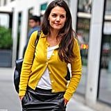 Katie Holmes buttoned up in NYC.