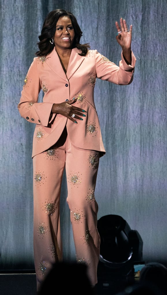 Michelle Obama Just Wore a Crystal-Encrusted Pink Suit, So Excuse Me as I Freak Out