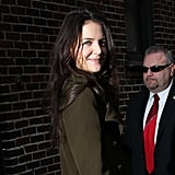 Katie Holmes in Pink Dress Outside of the Late Show