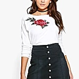 Boohoo Ali Applique Flower Sweatshirt