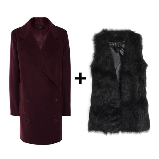 Pair a deep burgundy coat with a furry black vest for extra texture and warmth. Plus, we love this color combination.  Tibi Felt Coat ($450, originally $750) Romwe Faux Fur Vest ($83)