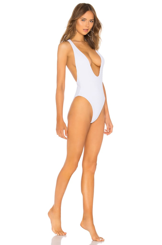 Blue Life Plunging Racerback One Piece in White